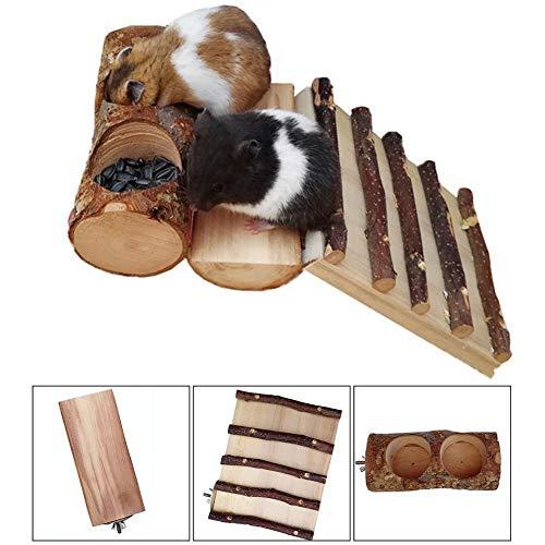 fervory Hamster Klettergerüst Hamster Holzspielzeug Set Klettergerüst Plattform Futternapf Zähneknirschen Zubehör Für Chinchillas Igel Meerschweinchen Kleine Haustiere