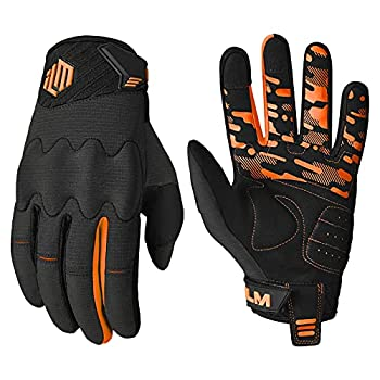 ILM Youth Kids Motorcycle Dirt Bike Motocross ATV MTB Mountain Bike Gloves Full Finger Summer Breathable Touch Screen Glove for Bicycle Cycling BMX Sports Outdoor  Orange Youth-XL