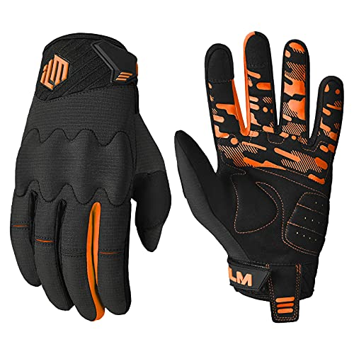 ILM Adult Motorcycle Dirt Bike Motocross ATV MTB Mountain Bike Gloves Full Finger Summer Breathable Touch Screen Glove for Bicycle Cycling BMX Sports Outdoor (Orange Adult-S)