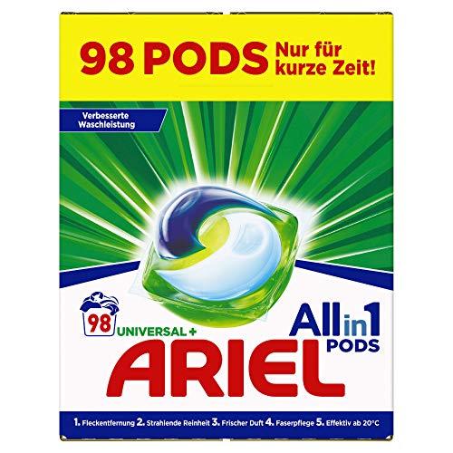 Ariel Waschmittel Pods All-in-1, Universal, Frischer Wäscheduft und strahlende Reinheit, 98 Waschladungen (2 x 49)