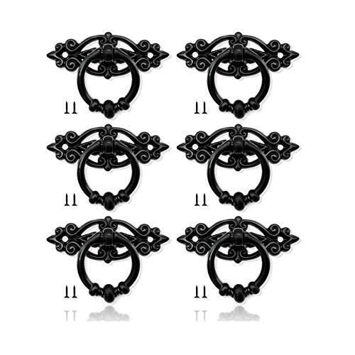 WSL 6 Stück Antik Möbelknopf Alte Tür Schrank Knöpfe Schublade Ring Griffe Zinklegierung Vintage Türgriffe für Schrank Kommode Möbelgriff mit Schrauben (Schwarz)