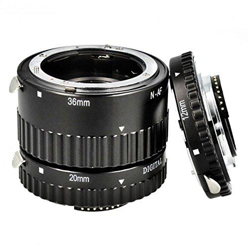 Automatik Zwischenringe 12/20/36mm für Makrofotographie kompatibel mit NIKON D7100, D5200, D5100, D5000, D3100, D3000, D800, D700, D600, D300, D90, D80, D70, D60, D50, D40 - Kontaktbereich aus METALL