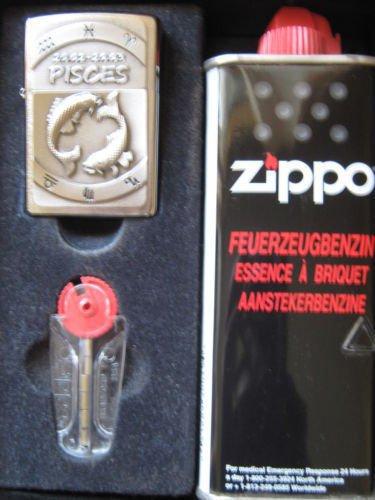 Coffret cadeau briquet zippo avec signe du zodiaque poissons.