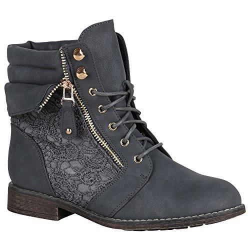Stiefelparadies Damen Stiefeletten Schnürstiefeletten Gefütterte Schuhe Spitze Zipper Boots...