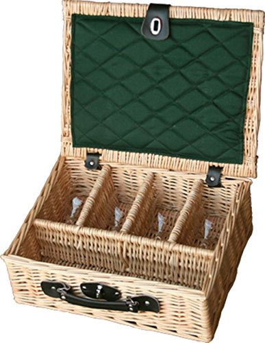 Red Hamper 4 Glass Presentation Drinks Basket