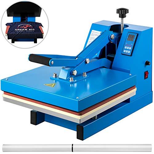 VEVOR Heat Press 15X15 Inch Heat Press Machine Industrial Quality Power T Shirt Heat Press Sublimation Machine Clamshell Heat Press Machine for T Shirts (Blue)