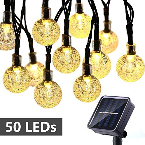 Solar String Lights 50 LED 29.5ft Solar Patio Lights with 8 Modes, Waterproof Crystal Ball String Lights for Patio, Lawn, Garden, Wedding, Party, Christmas Decor(Warm White)