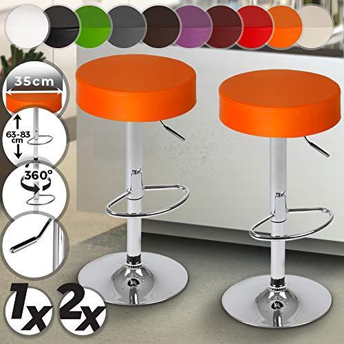 MIADOMODO Taburete de Bar - Diseño Clásico, con Reposapies, Giratorio y Regulable en Altura, Color y Juego a Elegir - Sedia, Silla, Taburete, Comedor, Mueble de Bar (Naranja, Juego de 2)
