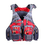 JKSPORTS Fly Fishing Vest, Fishing Safety Life Jacket for Swimming Sailing Boating Kayak Floating Multifunction Breathable Backpack for Men and Women Vest/Kayak (Red, with Foam)