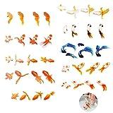 Jurxy 10 Hojas Goldfish 3D Pegatina Koi Pond Clear Film Pegatina Decorativa de Resina de simulación Molde de Pescado Dorado de Bricolaje para Fabricación de Joyas de Pintura - Gran pez