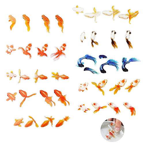 Jurxy 10 Blatt 3D Goldfisch Aufkleber Harz DIY Sticker Kreative 3D Resin Film Verschönerungen Epoxidharz Füllstoff Aufkleber Dekoration für Handwerk - Grosser Fisch