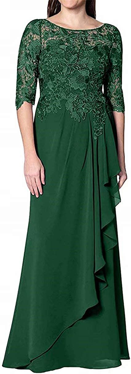 Women's Mother of The Bride Dress Long Sleeves Chiffon Pleated ormal Evening Gowns