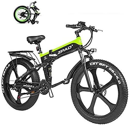 Bicicletta cruiser elettrica pieghevole Bici da neve elettrica, 1000 W Fat Electric By Bike 48 V Batteria al litio Mens Mountain E Bike 21 Velocità 26 pollici Pneumatici grassi Bicicletta Bicicletta N