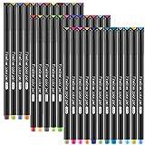GOLDGE 36pz Rotuladores de Punta Fina para Planificador de Diario, Marcadores de punta Fina para Taking Adult Coloring Books Pintura Dibujo 0.4 mm Pluma de Punta de Fieltro de 36 Colores