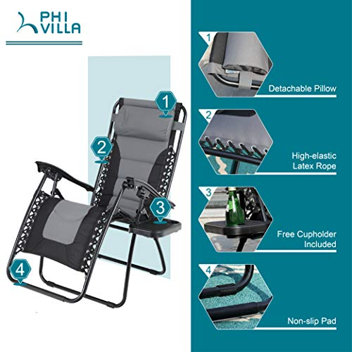 PHI-VILLA-Zero-Gravity-Chair-Padded-Recliner-Adjustable-Lounge-Chair-with-Free-Cup-Holder