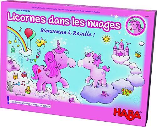 HABA- Licornes dans Les Nuages Bienvenue à Rosalie, Jeu coopératif enchanteur de Course et de Collecte pour 2 à 4 Joueurs âgés de 4 à 99 Ans, avec des règles Simples pour s'amuser Rapidement, 302768