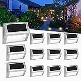 Luces Solares para Exterior Jardín 4LED Easternstar, Lámparas Solares impermeable, Iluminación exterior solar, panel solar del acero inoxidable,Utilizado para escaleras,jardín,patio,pared(10 paquetes)