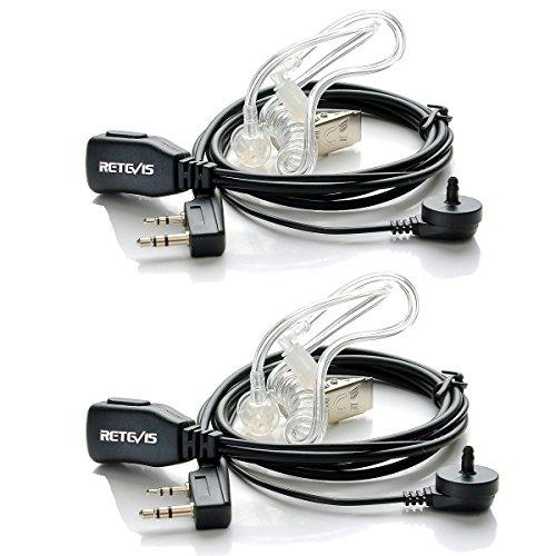 Retevis Walkie Talkie Auricular, Pinganillo Compatible con Baofeng UV-5R BF-888S Retevis RT24 RT622 RT27 RT46 RT28 Walkie Talkie 2 Pines Auriculars Transparente Tubo Acústico (2 Pacs)
