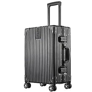 (アスボーグ)ASVOGUE スーツケース キャリーケース 半鏡面仕上げ アライン加工 アルミフレーム レトロ 旅行 出張 軽量 静音 ファスナーレス 機内持込可 保護カバー付き