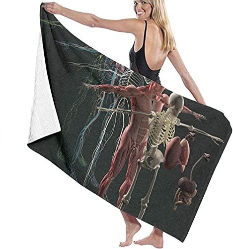Toalla de Playa Fibra extrafina Diagrama de anatomía Humana súper Grande Modo de Vista despiezada Super Toalla de baño de Secado rápido Hombres y Mujeres Mujeres Adultas prevención de Arena toall