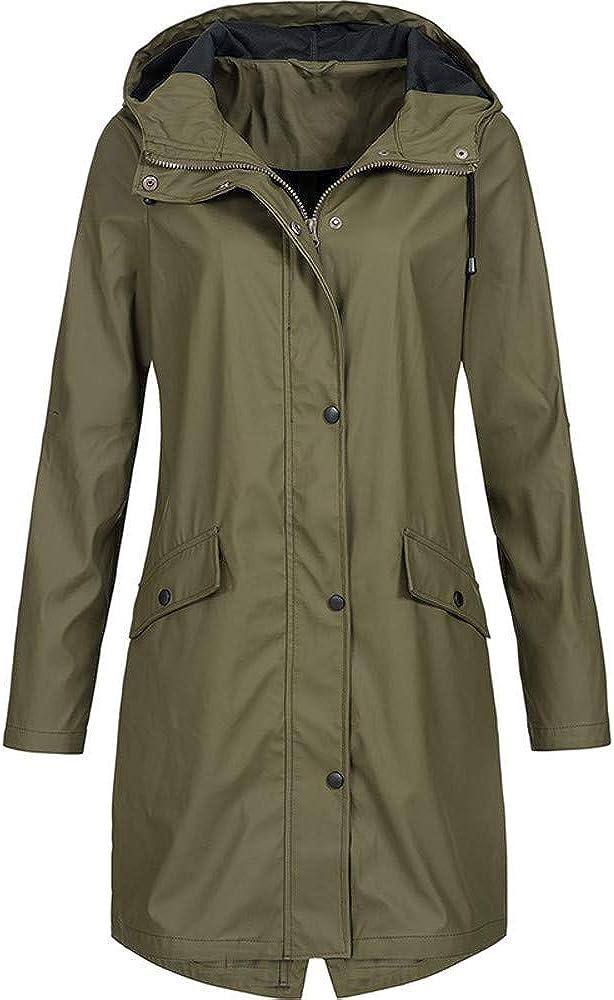Raincoats for Adults Women Windbreaker Solid Rain Jacket Outdoor Hoodie Overcoat Long Coat Overcoat Windproof Coat
