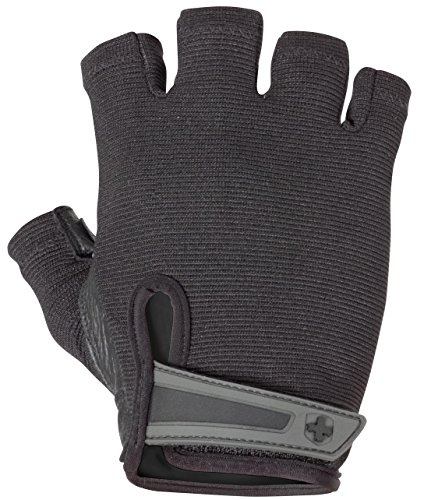 Harbinger Power Non-Wristwrap Weightlifting Gloves with StretchBack Mesh and Leather Palm (Pair), Black, X-Large (Fits 8.5 - 9.5 Inches)
