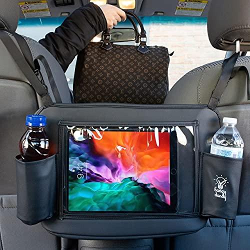 Hangy Dandy - Car Net Pocket Handbag | iPad & Tablet Holder for car | Multipurpose Organizer | Premium Quality Leather | Car Backseat Organizer & Cups Holder | Car Backseat Barrier for Pets & Children