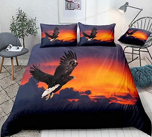 Xiaoxiao 3D Black adelaar beddengoed vliegen vogels beddengoed set vliegen adelaar op oranje zonsondergang design wild leven adelaar bed set Dropship 210X210cm 1