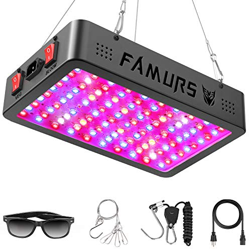 FAMURS 1500W Triple Chips LED Grow Light Full Spectrum with Veg and Bloom Switch, LED Plant Grow Lamp with Daisy Chain for Greenhouse Hydroponic Indoor Plants.