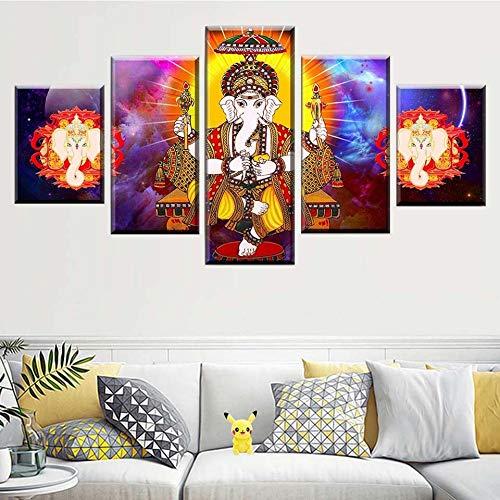 KWzEQ Leinwandmalerei modulare Wandkunst 5 Stücke des indischen Gottzimmers Weisheitsbild Wohnzimmerdekorationsplakat,Rahmenlose Malerei,30x40cmx2, 30x60cmx2, 30x80cmx1