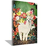 北欧サンタローザラマポスターとプリントリビングルームの壁の写真スカンジナビアの家の装飾のためのフラワーキャンバス絵画、フレーム付き40x60cmホワイトフレーム