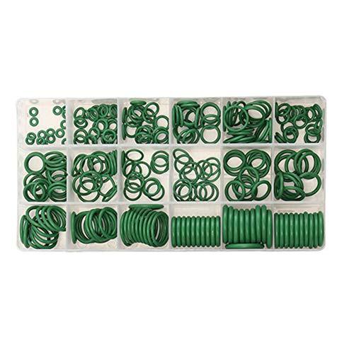 KingBra - Juego de juntas de compresor de aire acondicionado para reparación de automóviles, 270 unidades, 18 tamaños, surtido con herramienta de extracción de núcleo de válvula, color verde
