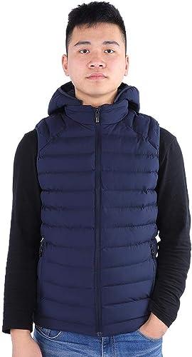 Aramox Gilet Chauffant, Veste de réchauffeHommest avec Capuchon de ChargeHommest pour Hommes en Plein air, réglable et réglable USB(5XL-bleu)