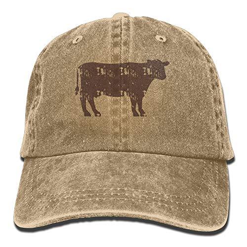 ONE-HEART HR Cattle Beef Silhouette Adult Cowboy Baseball Caps Denim Hats for Men Women
