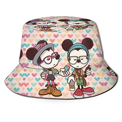 Mi-ckey-Mo-Use Sombrero para el Sol con Cubo y Gafas para Hombres y Mujeres, Gorra de Pescador de Verano Plegable de protección para Pesca, Safari, Paseos en Bote por la Playa