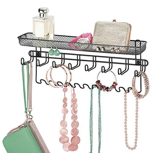 mDesign Colgador de joyas en metal – Joyero organizador, ideal para colgar collares, pendientes, pulseras y otros accesorios – Práctico colgador de pared para organizar bisutería – negro