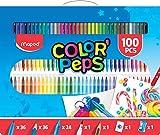 Maped Color'Peps Kit de Coloriage 100 pcs - 36 Crayons de Couleur, 36 Feutres Lavables, 24 Craies, 1 Feutre Brush Calligraphie, 1 Crayon HB, Gomme et Taille Crayon - Boîte de Transport Réutilisable