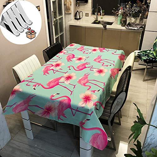 Stillshine 3D Flamingo Tischdecke Wasserdicht Abwaschbar, Rechteckig Outdoor Garten Pflegeleicht Fleckschutz ölfest Deko Schutzbezug Mehrzweck Farbe & Größe Wählbar (140 * 200cm,Blume)
