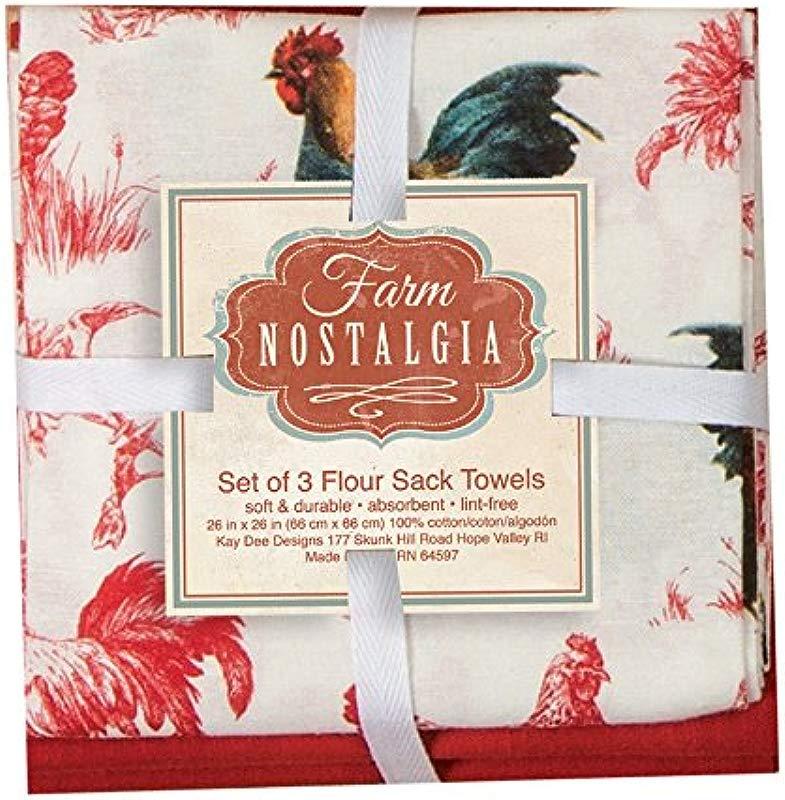 Kay Dee Designs Farm Nostalgia Flour Sack Towels Set Of 3