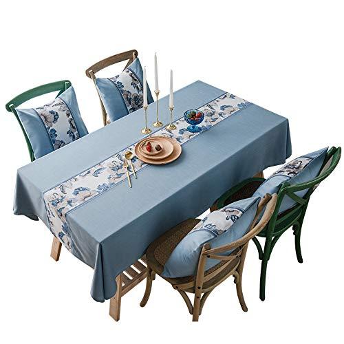 DJUX Mantel Jacquard Impermeable Color sólido algodón y Lino Color Liso imitación algodón y Lino Mantel 135 * 220 cm