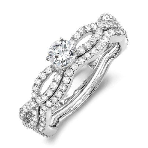 DazzlingRock Anillo de compromiso de oro blanco de 14 quilates con diamante de corte redondo brillante para mujer (1,25 quilates, color G-H, claridad I1-I2)