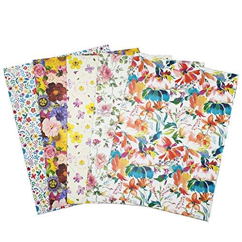 ARCA Carta da Regalo per Confezionamento Regalo 5 Fogli 100x 70 cm 100% Carta Disegni Fiori Primavera(Fiore 1)