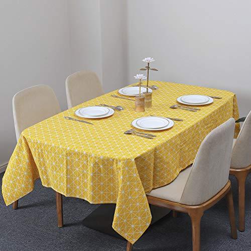 Tischdecke Rechteckige Baumwolle Leinen Tischdecken Schachbrettmuster Staubdichte Waschbare Tischtuch für Küche Esstischplatte 140 x 220 cm (Gelb)