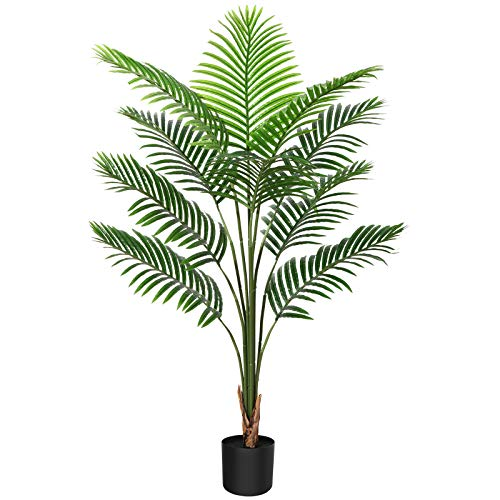 CROSOFMI Kunstpflanze Palmen 120 cm Plastik Künstliche Pflanze Groß Areca Palme im Topf Wohnzimmer Balkon Schlafzimmer Grün Deko (1 PACK)