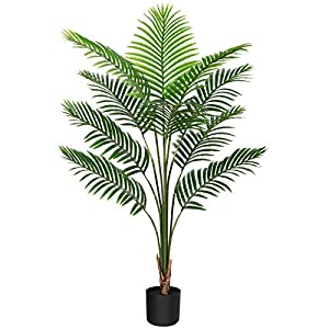 Silk Flower Arrangements CROSOFMI Artificial Areca Palm Tree 4.5Feet Fake Tropical Palm Plant,Perfect Faux Dypsis Lutescens Plants in Pot for Indoor Outdoor Home Office Garden Modern Decoration Housewarming Gift