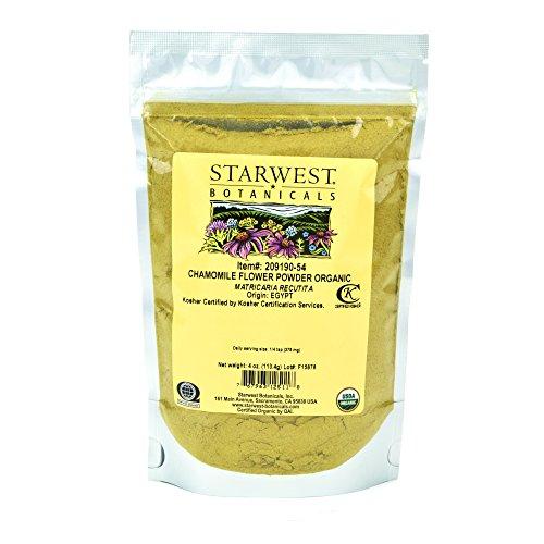 Starwest Botanicals Organic Chamomile Flower Powder, 4 Ounces