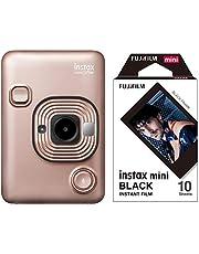 Fujifilm Instax Mini LiPlay Hybrid Instant Camera (Blush Gold) with Designer Film 10 Shots