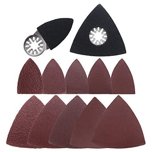 102 Stück oszillierende Multi-Tool Finger Dreieck-Schleifpads Zubehör-Set Haken & Loop Schleifscheiben Pad mit 40/80/120/180/240 Schleifpapier