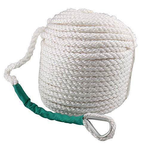 CarBole Cuerda de Acoplamiento para Barco esférica, 12mm x 61m Tres hebras, nailoncuerda de Anclaje Trenzado para Barco, Seda, línea con dedal y tensores de Rotura 2650kg