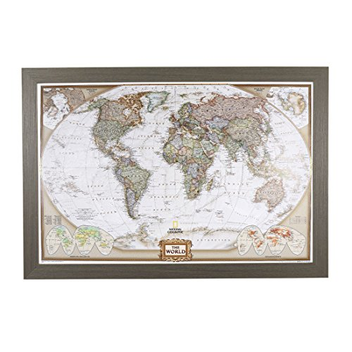Push Pin Travel Maps Executive World with Barnwood Gray Frame and Pins - 27.5 inches x 39.5 inches